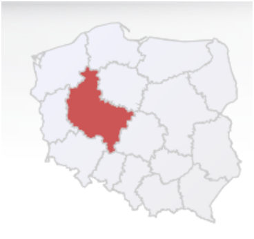 Map of Poland with marked Wielkopolska Region